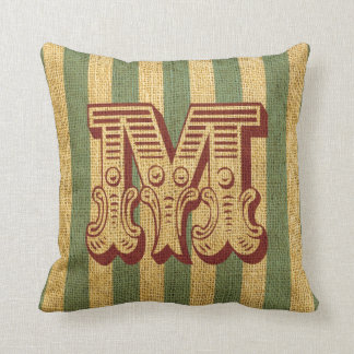 Vintage Circus Letter M Throw Pillow