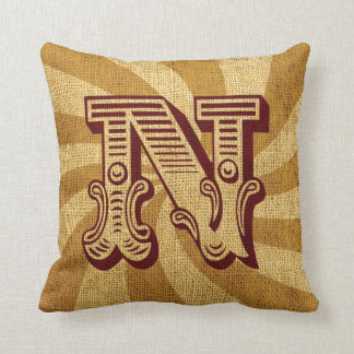 Vintage Circus Letter N Throw Pillow