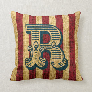 Vintage Circus Letter R Throw Pillow
