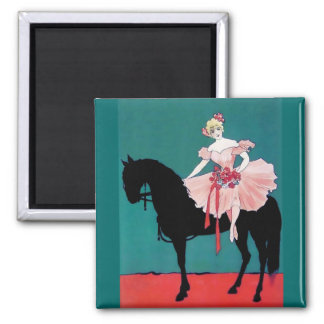 Vintage Circus Performer with a Black Horse Square Magnet