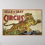 Vintage Circus Poster - circa 1930 - distressed