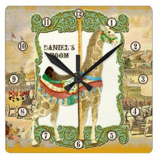 Vintage Circus Poster, Giraffe Baby Room Clock