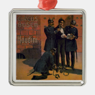 Vintage Circus Poster - Houdini and the Circus Metal Ornament