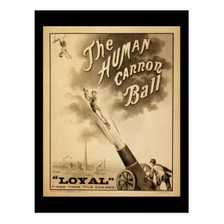 Vintage Circus Poster Human Canon Ball circa 1879 Post Card