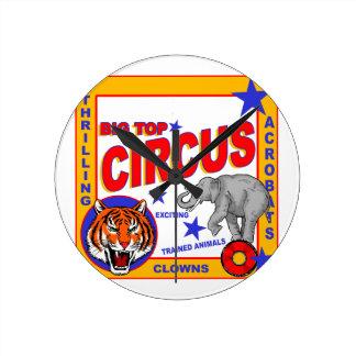 Vintage Circus Poster Round Clock