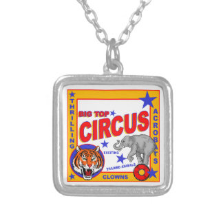 Vintage Circus Poster Silver Plated Necklace