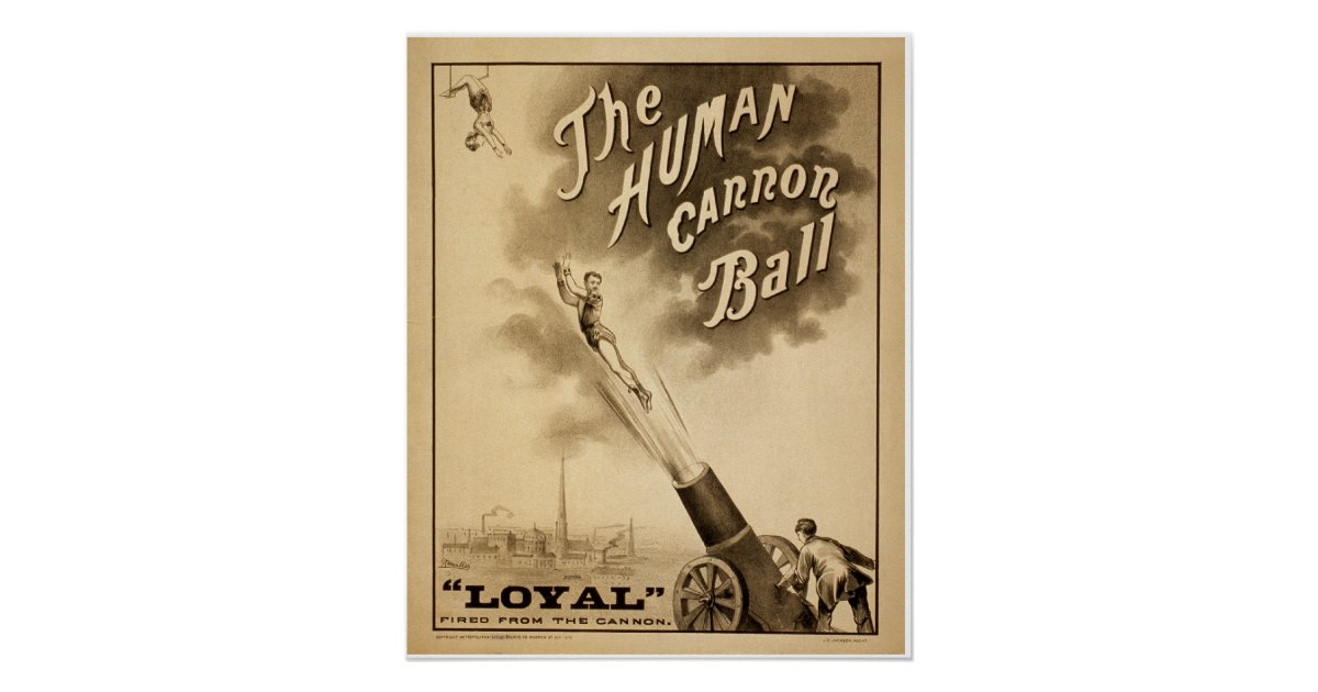 Vintage Circus Poster The Human Cannon Ball | Zazzle.ca |Human Cannonball Circus Poster