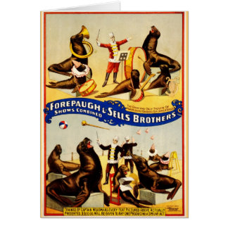 Vintage Circus - Sea Lions and Seals Card