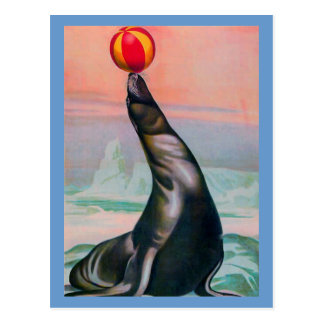 Vintage Circus Seal with Ball Postcard