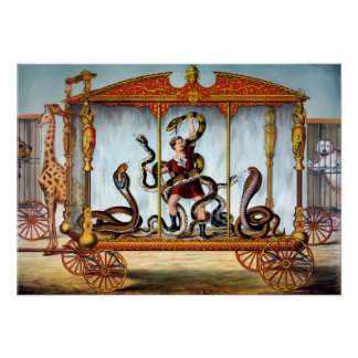 Vintage Circus Snake Handler and Caged Animals Poster