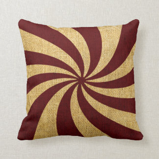 Vintage Circus Spiral Red Throw Pillow