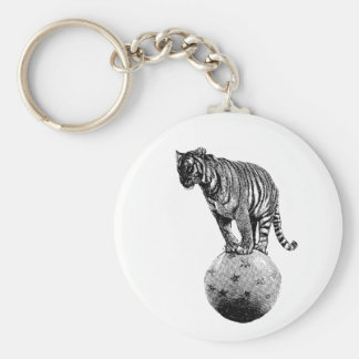 Vintage Circus Tiger Gifts Basic Round Button Keychain