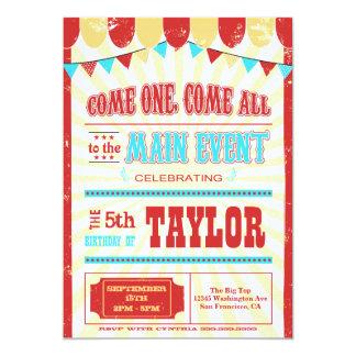 "Vintage circus typography birthday party invite 5"" x 7"" invitation card"