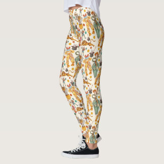Vintage Circus with Clowns and Animals, Retro Leggings