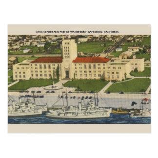 Vintage Civic Center in San Diego Postcard