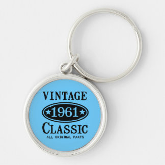 Vintage Classic 1961 Silver-Colored Round Keychain