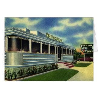 Vintage Classic 50s Retro Restaurant Pelican Diner Card