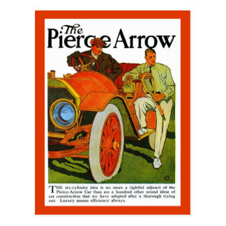 Vintage classic American 1900s Pierce Arrow car Postcard