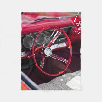 Vintage Classic Automobile Steering Wheel Fleece Blanket