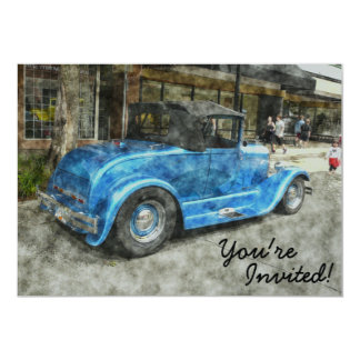 """Vintage Classic Blue Convertible Watercolor Style 5"""" X 7"""" Invitation Card"""