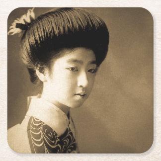 Vintage Classic Japanese Beauty Geisha 芸者 Japan Square Paper Coaster
