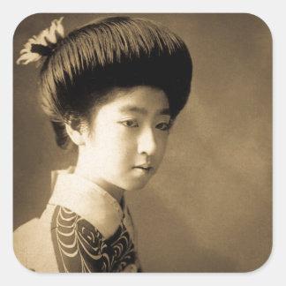 Vintage Classic Japanese Beauty Geisha 芸者 Japan Square Sticker