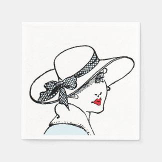 Vintage classic lady cocktail napkins disposable napkins