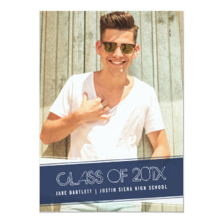 Vintage Classic | Navy Blue Photo Graduation Party Card