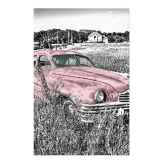 Vintage Classic Pink Car Stationery