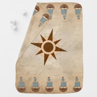 Vintage Classic Pirate Ship Compass Nursery Decor Baby Blanket