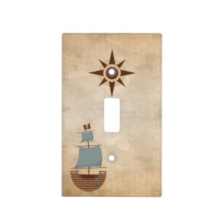 Vintage Classic Pirate Ship Compass Nursery Decor Light Switch Cover