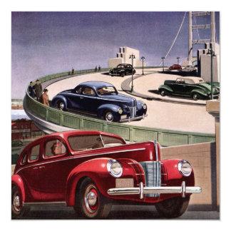 "Vintage Classic Sedan Cars Driving on the Freeway 5.25"" Square Invitation Card"