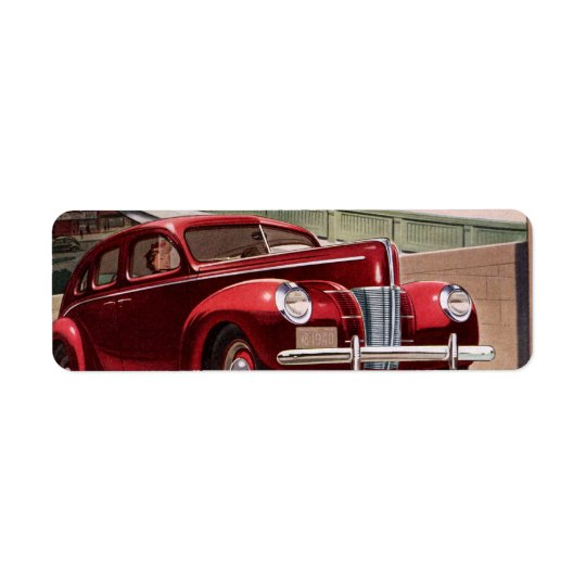 Vintage Classic Sedan Cars Driving on the Freeway Return Address Label