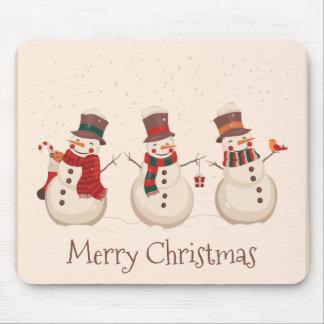 Vintage Classic Snowmen Christmas | Mousepad