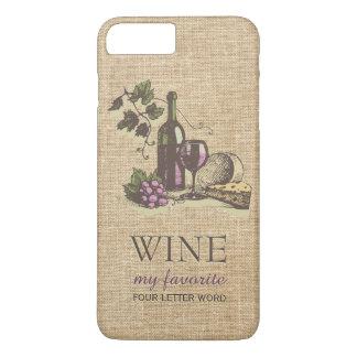 Vintage Classic Wine Rustic Burlap iPhone 7 Plus Case