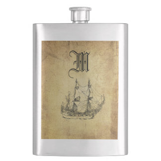 Vintage classy ancient ship monogram hip flask