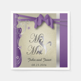 Vintage Classy Curvy Design | Amethyst Purple Paper Napkin