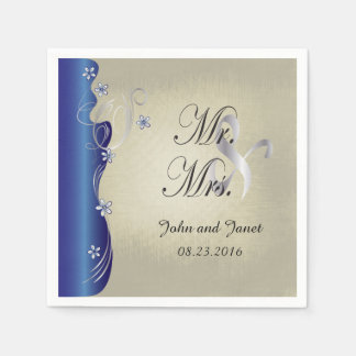 Vintage Classy Curvy Design | Sapphire and Silver Paper Napkins