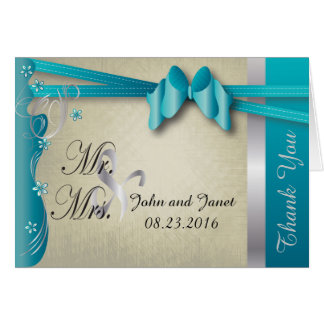 Vintage Classy Curvy Design | Turquoise Blue Note Card