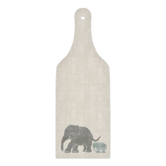 Vintage Classy Natural Coloured Elephant with Baby Cutting Board