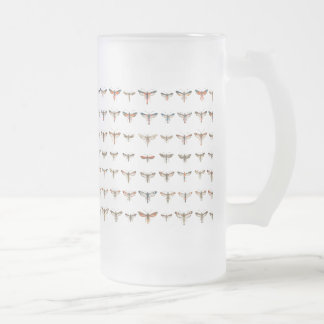 Vintage Clearwing Moths Frosted Glass Beer Mug