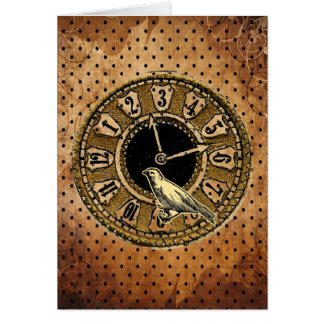 Vintage Clock and Bird Greeting Card