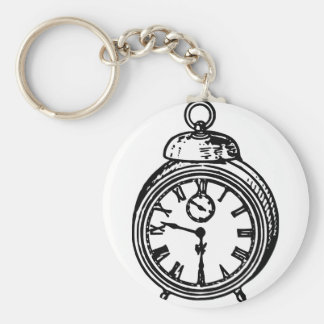 Vintage clock basic round button keychain