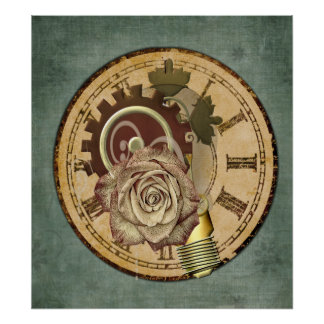 Vintage Clock Collage Poster