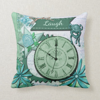Vintage Clock Face and Gears Pillow