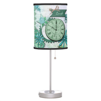 Vintage Clock Face and Gears Table Lamp