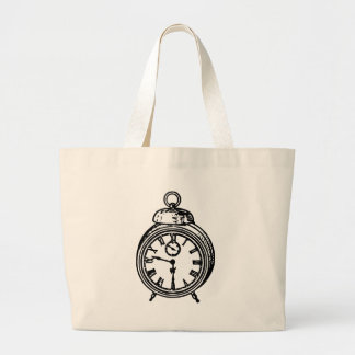 Vintage clock large tote bag