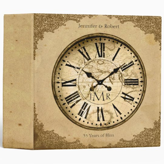 Vintage Clock on Paper 1st Anniversary Binder