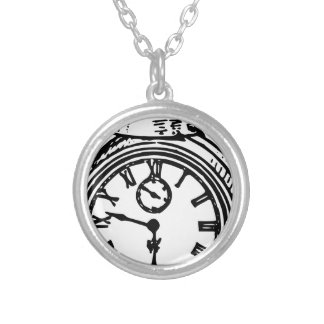 Vintage clock silver plated necklace