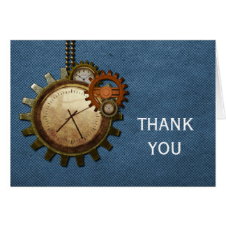 Vintage Clock Thank You Card, Blue Note Card